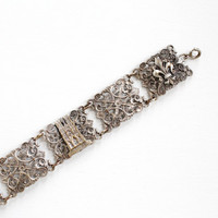 Vintage Silver Tone French Reims Panel Bracelet - Art Deco 1930s Historical Attraction France Souvenir Floral Filigree Tourist Jewelry