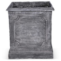 "22"" Paneled Square Planter, Charcoal"