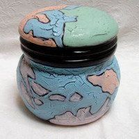 Ceramic Canister World Map Kitchenware Reticulated Glaze 5 1/2 x 5 x 5""