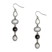 Geometric Gray Glitter Stones and Crystals Linear Drop Earrings