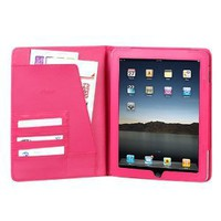High Quality Hot Pink Leather Cover Protective Case Jacket Magnetic Closing Flap Credit Card ID Passport Slots for Apple iPAD i-Pad 3G, Wifi Model 16GB 32GB 64GB Tablet Slate: Computers & Accessories