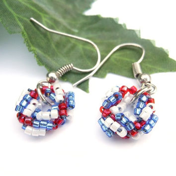 Handmade Beaded Small Wreath Earrings