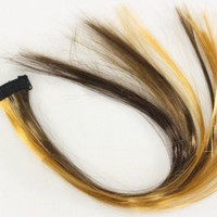 """Brown Ombre faux fake hair extension 14"""" x 1.25"""" clip on straight multi-brown"""