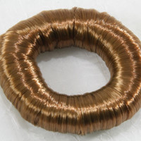 Smooth faux hair wrapped ponytail holder extension light brown smooth thick soft