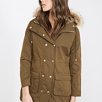 Double-Breasted Drawstring Parka