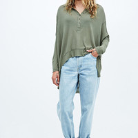 Free People Nicest Waffle Long Sleeve Henley Tee in Green - Urban Outfitters