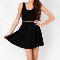 Flared Black Scoop Neck Skater Dress with Belt - Free Shippi