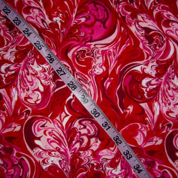 Red Flannel fabric with hearts swirled ink design marble cotton quilting sewing material by the yard colorful