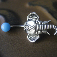 Belly Button Stud- Elephant Jewelry Navel Ring Piercing Stud Bar Barbell Turquoise Teal Aqua Blue