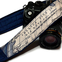 Vintage Map Camera Strap, dSLR Camera Strap, SLR, Blue, Nikon, Canon Camera Strap, Men, Women Accessories