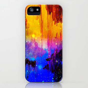 CASTLES IN THE MIST Magical Abstract Acrylic Painting Mixed Media Fantasy Cosmic Colorful Galaxy  iPhone & iPod Case by EbiEmporium