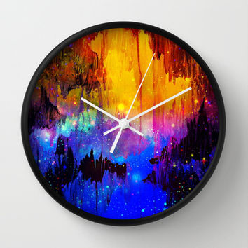 CASTLES IN THE MIST Magical Abstract Acrylic Painting Mixed Media Fantasy Cosmic Colorful Galaxy  Wall Clock by EbiEmporium