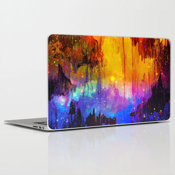 CASTLES IN THE MIST Magical Abstract Acrylic Painting Mixed Media Fantasy Cosmic Colorful Galaxy  Laptop & iPad Skin by EbiEmporium
