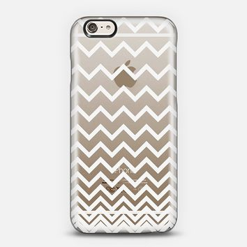 White Ombre Chevron Transparent iPhone 6 case by Organic Saturation | Casetify