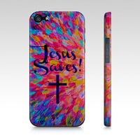 JESUS SAVES - Christian Fine Art iPhone 4 4S 5 5S 5C Case Neon Hot Pink Turquoise Blue Ocean Splash God Cross Religious Bible