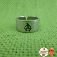 Anarchy  - Hand Stamped Adjustable Ring