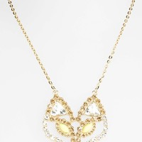 Women's Topshop Rhinestone Fox Head Pendant Necklace