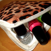 Cheetah Print Nail Polish Bag-Ready to Ship