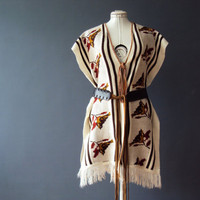 Vintage 70s Woodland Birds Peruvian Tribal Fringed Poncho  Wrap Shawl Sweater Vest