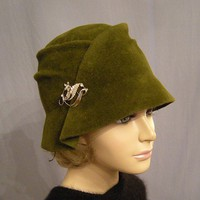 Emma, Velour Fur Felt Cloche, Olive