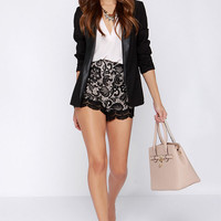 Steady Lace High-Waisted Black Lace Shorts