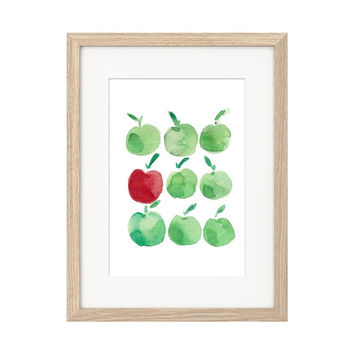 Apples art print, Minimalist fun kitchen art, print of apples watercolor, Green apples, Red apple art, apples print,teachers appreciation