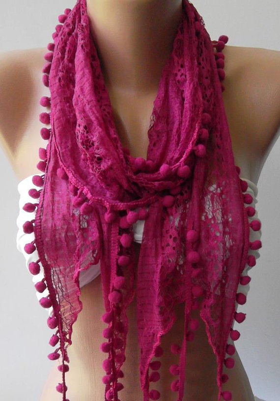 Fuchsia / Lace and Elegant Shawl / Scarf..