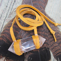 Huge Quartz Crystal &amp; Leather Wrap Bracelet Unisex Bracelet