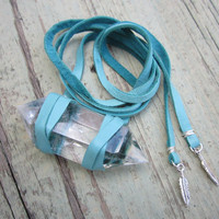 Huge Quartz Crystal &amp; Turquoise Leather Wrap Bracelet w/ Feather Charms - Bohemian Gypset Festival Beachy