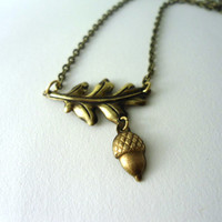 Leaf and Acorn Fall Necklace