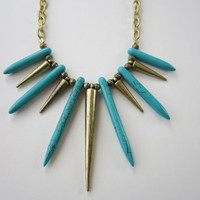 Free Spirit - Turquoise Howlite Dagger &amp; Brass Spike Necklace