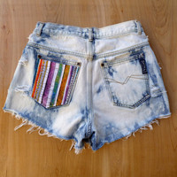 Highwaisted Southwestern Studded Denim Shorts Coachella  Size 28 high waist tribal neon