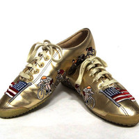 80s Gold Metallic Olympic Pride Tennis Shoe From SophistiFunkVintage