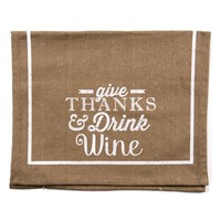 Primitives by Kathy 'Give Thanks & Drink Wine' Tea Towel