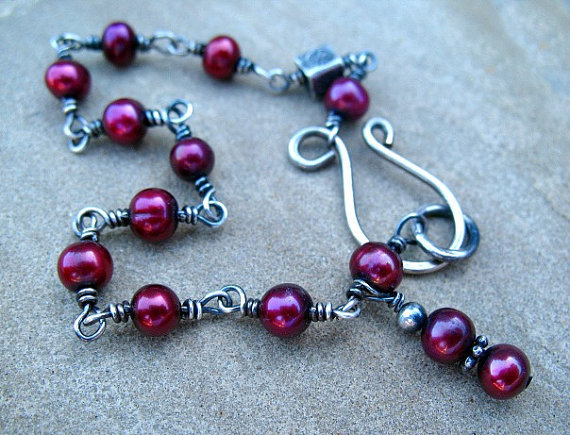 Red Bracelet, Cranberry Red Pearls,  Sterling Silver Jewelry, Wire Wrapped