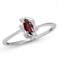 Natural Garnet & White Topaz 925 Sterling Silver Ring RN0076150 SilverShake.com