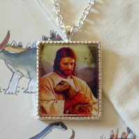 Velocirapture - Jesus and Dinosaur Necklace w/ Chain in Silver