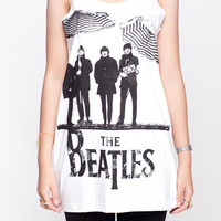 The Beatles Shirt John Lennon Classic Rock Shirts Women Tank Top White Shirt Tunic Top Vest Sleeveless Women T-Shirt Size S M