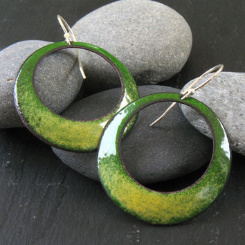 Circle Earrings - Green & Yellow