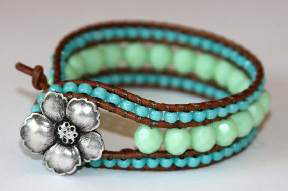 "Custom Leather Wrap Cuff Bracelet  ""Beach Glam Collection 2012"""