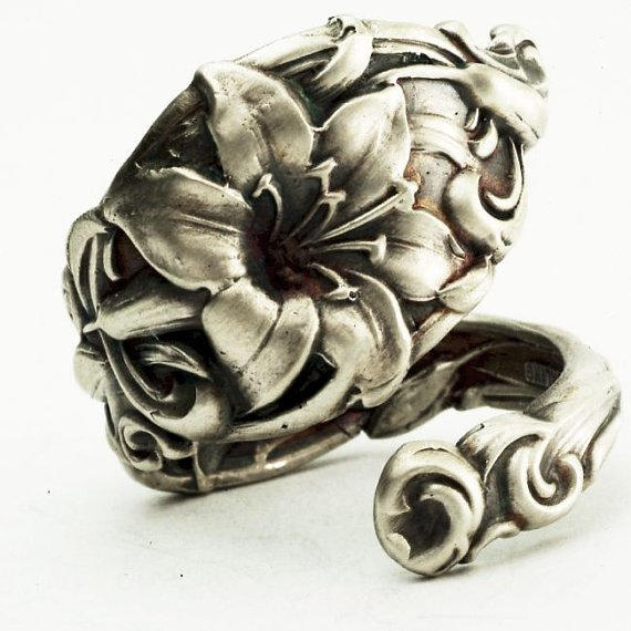 Spoon Ring Vintage Lovely Lily Sterling Silver Spoon Ring, Handcrafted in your size (2525)