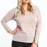 Plus Size Striped Hooded Dolman Top - LoveCulture