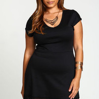 Plus Size Lace Trim Knit Dress - LoveCulture