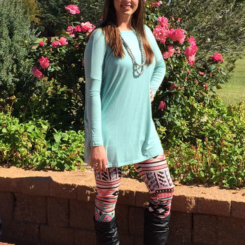 Solid Over Sized Tunic Dress in Mint