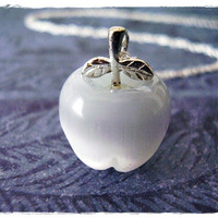 Tiny White Apple Charm Necklace in Fiber Optic &amp; Sterling Silver with a Delicate 18 Inch Sterling Silver Cable Chain