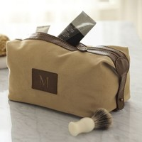 SADDLE LEATHER & CANVAS TOILETRY CASE