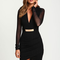 GOLD PLATE WRAP MESH DRESS
