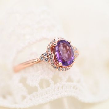 Rose Golden Plated Sterling Silver Ring with Oval Amethyst and CZ