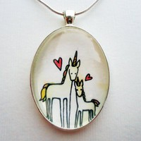 Unicorn Pendants, Original Watercolor, Mommy and Baby Unicorns : CellsDividing - ArtFire Jewelry