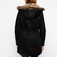 Brave Soul Parka With Leopard Hood at asos.com